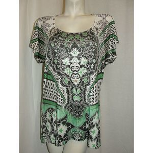 L Brown Green Embellished SS HI-LO Blouse Tunic